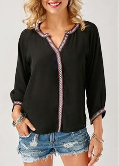 Asymmetric Hem Split Neck Printed Black Blouse