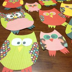 Card stock owls for my classroom...