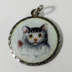 RARE ANTIQUE CHARM CAT SILVER GUILLOCHE ENAMEL ART NOUVEAU PENDANT KITTY A893   eBay