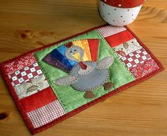 Thanksgiving Turkey Mug Rug from The Patchsmith | Check out patterns on Craftsy!