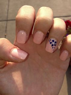 Nude and navy nails.