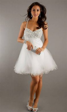 Nice White short dresses with straps 2017-2018