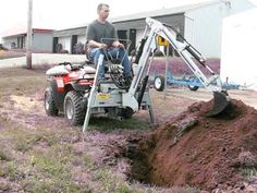 A small excavating machine hooked up to an ATV to ease your work load and have fun at the same time Atv Dump Trailer, Log Trailer, Atv Trailers, Small Tractors, Compact Tractors, Walk Behind Tractor, Utv Accessories, Homemade Tractor, Atv Attachments