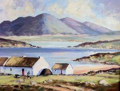The Rosses Co,Donegal Irish Landscape, Irish Cottage, 4th Of July Decorations, Irish Art, Sight & Sound, Donegal, Landscape Paintings, Folk Art, Ireland