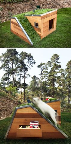 Studio Schicketanz have designed a modern Dog Dream House that features wood construction a green roof storage for toys and snacks a motion activated faucet and a solar powered fan. Modern Dog Houses, Cool Dog Houses, Dog Yard, Niches, Wood Dog, Pet Furniture, Outdoor Dog, Animal House, Roof Storage