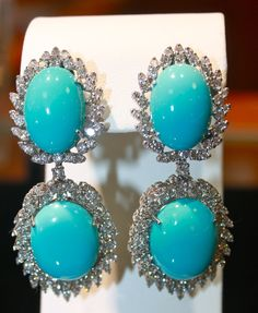 These large turquoise drop earrings with diamonds are available in Becker's Estate Jewelry Department!