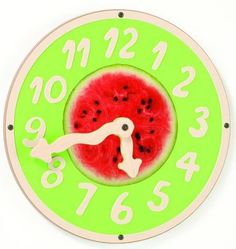 "Help children learn to tell time in a big way! The Watermelon Wiggle Clock Wall Toy is large enough for small hands to maneuver throughout the clock. The ""wiggly hands"" add an element of fun to this learning tool. Hang on the wall for children to play, learn and entertain themselves. The bright green and red colors will bring an extra pop of color to any room. #playscape #sensoryedge #walltoy.http://www.sensoryedge.com/watermelon-wiggle-clock-wall-toy.html"