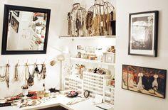 work space of jewelry maker Kelly Framel