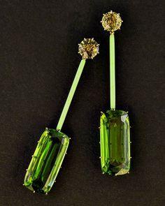 Peridot and yellow sapphires long drops. #taffinjewelry #taffin #jewellery…
