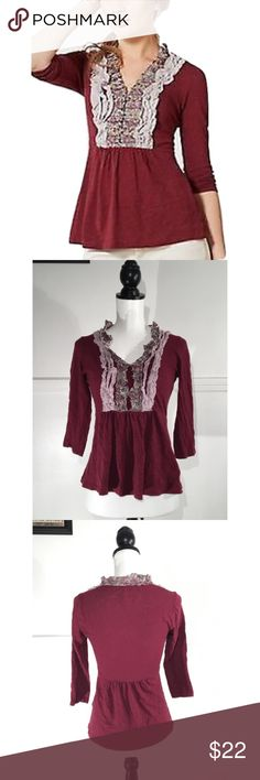 """Deletta Anthro Sz S Plum Ruffle Shirt Top EUC 🔸Deletta Anthropologie Sz S Plum Ruffle Shirt Top EUC🔸Size Small🔸Plum color🔸3/4 sleeves🔸V neck🔸Bust 32-34🔸Length 22""""🔸Thin lightweight material🔸Flattened ruffles🔸Elastic band with a slight flare at the waist🔸Excellent pre owned condition🔸 Anthropologie Tops Blouses"""