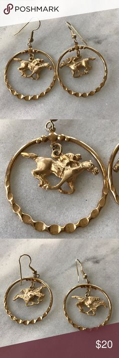 Vintage 🐎 horse race equestrian hoop earrings So fun! I like be how these dangle. Vintage old stock. Gold tone. Measures: 2 inch drop, 1.25 inches wide. Vintage Jewelry Earrings