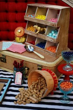 Candy and peanuts at a vintage circus baby shower party! See more party planning ideas at CatchMyParty.com!