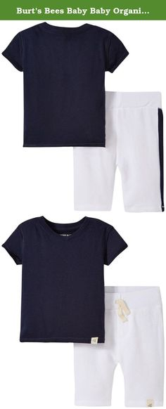 Burt's Bees Baby Baby Organic V-Neck Tee and Stripe Short Set, Midnight, 18 Months. Our 100 percent organic cotton kids v-neck tee has an exposed seam with raw edge detail and is the perfect base piece, and these 100 percent organic cotton loose pique shorts are sure to be an everyday favorite with their soft feel and cool navy stripe down the right side. Details include a faux fly, faux drawstring, and an elastic waistband for maximum movement.