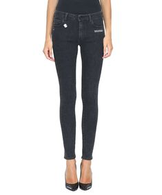 OFF-WHITE DENIM COTTON SKINNY FIT JEANS. #off-white #cloth #