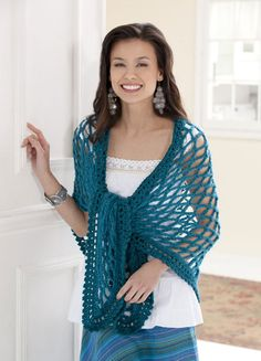 Trellis Triangle Shawl - Free Crochet Pattern - See http://www.ravelry.com/patterns/library/triangle-trellis-shawl For Additional Projects - (caron)