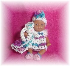 Barbie Bebe, Barbie Kids, Barbie Family, Barbie And Ken, Crochet Doll Pattern, Crochet Dolls, Crochet Baby, Crochet Barbie Clothes, Crochet Outfits