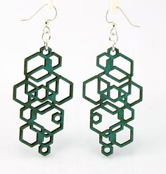 Hexagon Cluster - Wood Earrings. $12.95, via Etsy.
