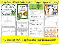 March Kindergarten ELA and Math Centers + Original mp3 song