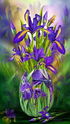 Dutch Iris In Iris Vase ~ Carol Cavalaris