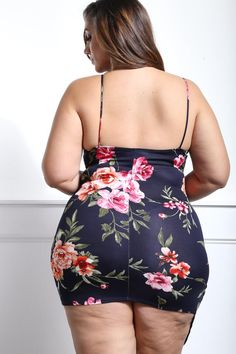 Detail View 4 : FAVORITE WORDS PLUS SIZE FLORAL MINI DRESS