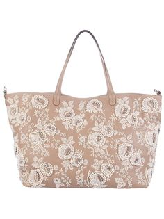Dark nude calf leather large shopping bag from Valentino featuring two handles, a zip top fastening and an embroidered pearl floral pattern with bronze bead detailing.