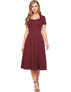 GEESENSS Women's 50s 60s Vintage Cocktail Party Picnic Swing Dress