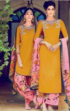 Beauteous Mustered Cotton Salwar Kameez