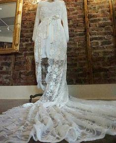 Long train lace robe available @miaelenabridal