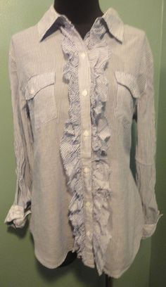 Charlotte Russe Blue White Lace Trimmed Ruffle Front Cotton Dress Blouse L Euc #CharlotteRusse #Blouse #CareerDress $14 Free Shipping!