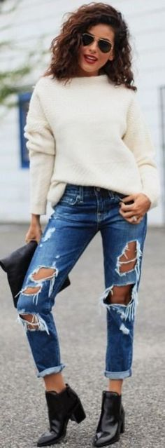 Ripped Boyfriend Jeans, white sweater @roressclothes closet ideas women fashion  outfit clothing style apparel