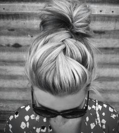 French braid & top knot
