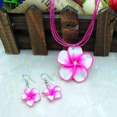 Joyería de la manera! productos lindo regalo de los cabritos muchacha de los niños collar + pendiente de la flor w del envío Primavera Verano color CS75