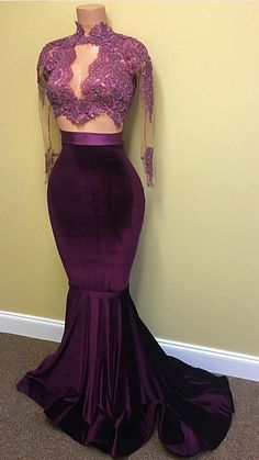 Grape Beading Appliques High-Neck Mermaid Two Pieces Prom Dresses 2017