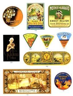 miniature vintage food labels to print