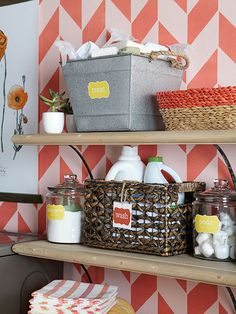 Great idea to store laundry products in baskets and bins and by laundry function - great timesaver!  via BHG