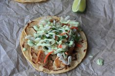 Pan-Seared Fish Tacos with Spicy Mango Glaze, Cilantro Slaw and Avocado Cream