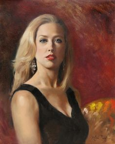 """Self Portrait with Red Lipstick"" (painted from a mirror) - 20x16 - oil on linen - $3500. Oil painting by Anna Rose Bain"