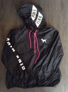 Victoria Secret PINK Anorak 1/4 Zip Logo Windbreaker Rain Jacket Womens Sz XS / | eBay