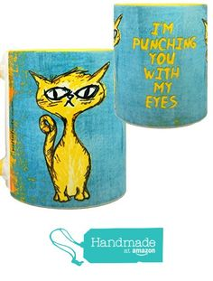 Eye Punch Cat Funny Mug by Pithitude - One Single 11oz.Yellow Coffee Cup from Pithitude https://www.amazon.com/dp/B01E4G41N2/ref=hnd_sw_r_pi_dp_wfwCzb3FK651E #handmadeatamazon