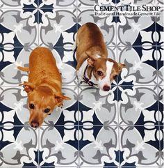 Cement Tile Shop - Handmade Cement Tile / Sofia Black Pattern