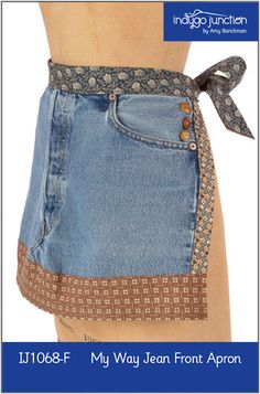 My Way Jean Front Recycled Apron ePattern frm Indygo Junction use a necktie for waistband