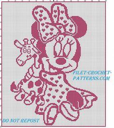 Filet crochet baby blanket with Disney baby Minnie with giraffe - free filet crochet patterns download