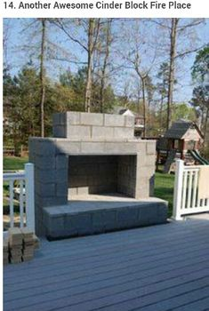 Cement blocks fire place