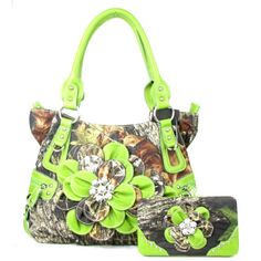 Handbags, Bling & More! Western Green Camouflage Flower Rhinestone Purse W Matching Wallet : Fall Collection