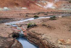 Hot springs in Krisuvik. The Grindavik Hydrothermak field is half way between Reykjavik and Keflavik, and half way between the east and west side of the Reykjanes peninsula.