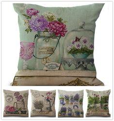 Wholesale Vintage Flowers Pillow Cover Cushion Cover Linen Cotton Throw Pillows Cute Cats Home Decor Pillow case Pillowsham 17