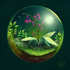 Posted by megmcmuffins : A warm up that got wildly out of hand #painting #digitalart #terrarium #nature #plants #orchid #moss #bubble #practice #art #flower