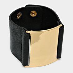 Wide Black Leather & Gold Plate Snap Cuff Bracelet #GingasGalleria #Cuff