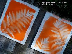1 Can of Valspar, Gloss Finish, Island Orange  16 x 20 canvas, Aaron Brothers  Rubber Cement, CraftBond from Elmers  Leaf/Foliage