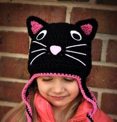 Knit this adorable cat ear-flapped hat for your little girl child and a black kitty hat will make her more lovable. Knit this adorable cat ear-flapped hat for your little girl child and a black kitty hat will make her more lovable. Knitted Hats Kids, Knitted Cat, Crochet Baby Hats, Crochet Beanie, Crochet For Kids, Baby Knitting, Crochet Animal Hats, Crochet Character Hats, Knitting Patterns